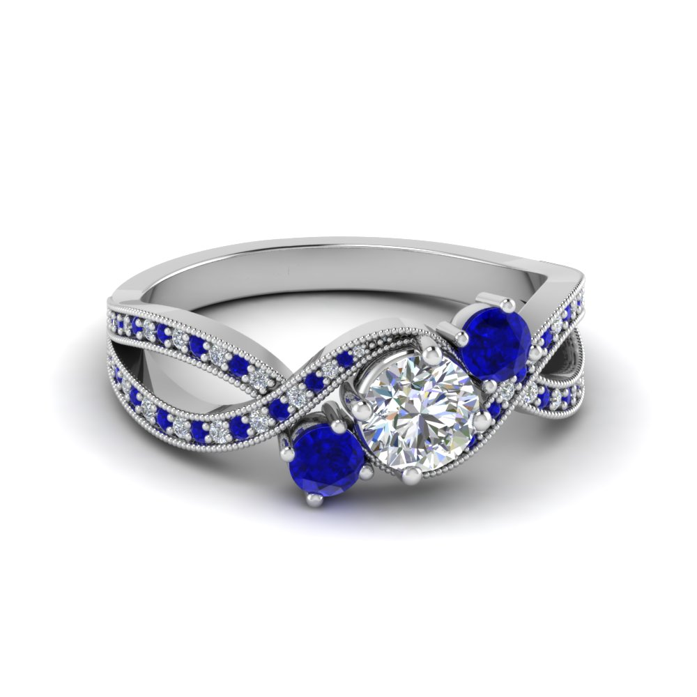 3 stone diamond swirl milgrain engagement ring with sapphire in FD8101RORGSABL NL WG