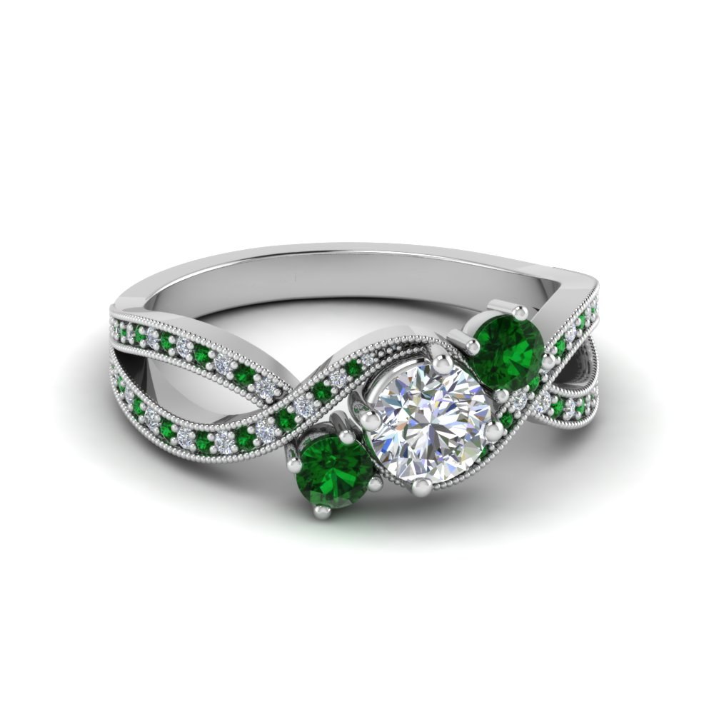 Emerald Milgrain Wedding Rings