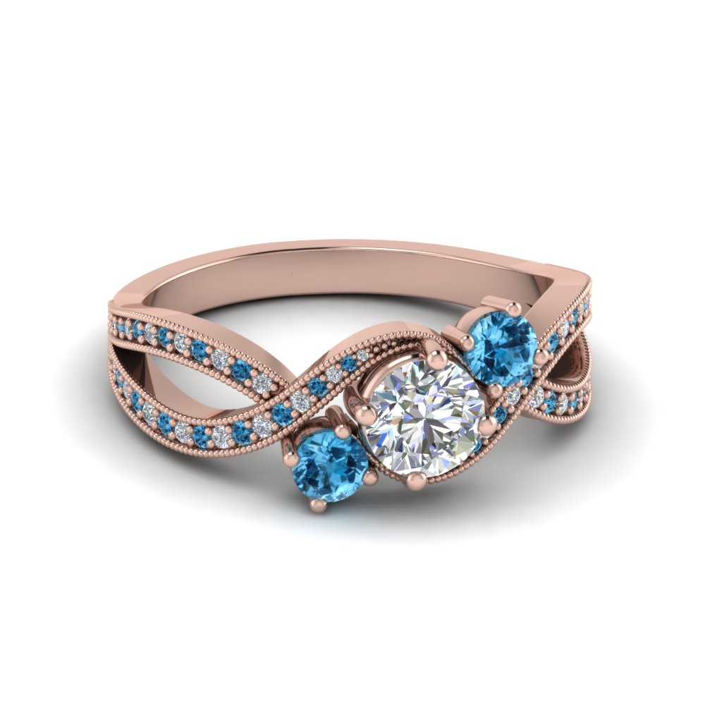 milgrain three stone pave diamond engagement ring with blue topaz in FD8101RORGICBLTO NL RG