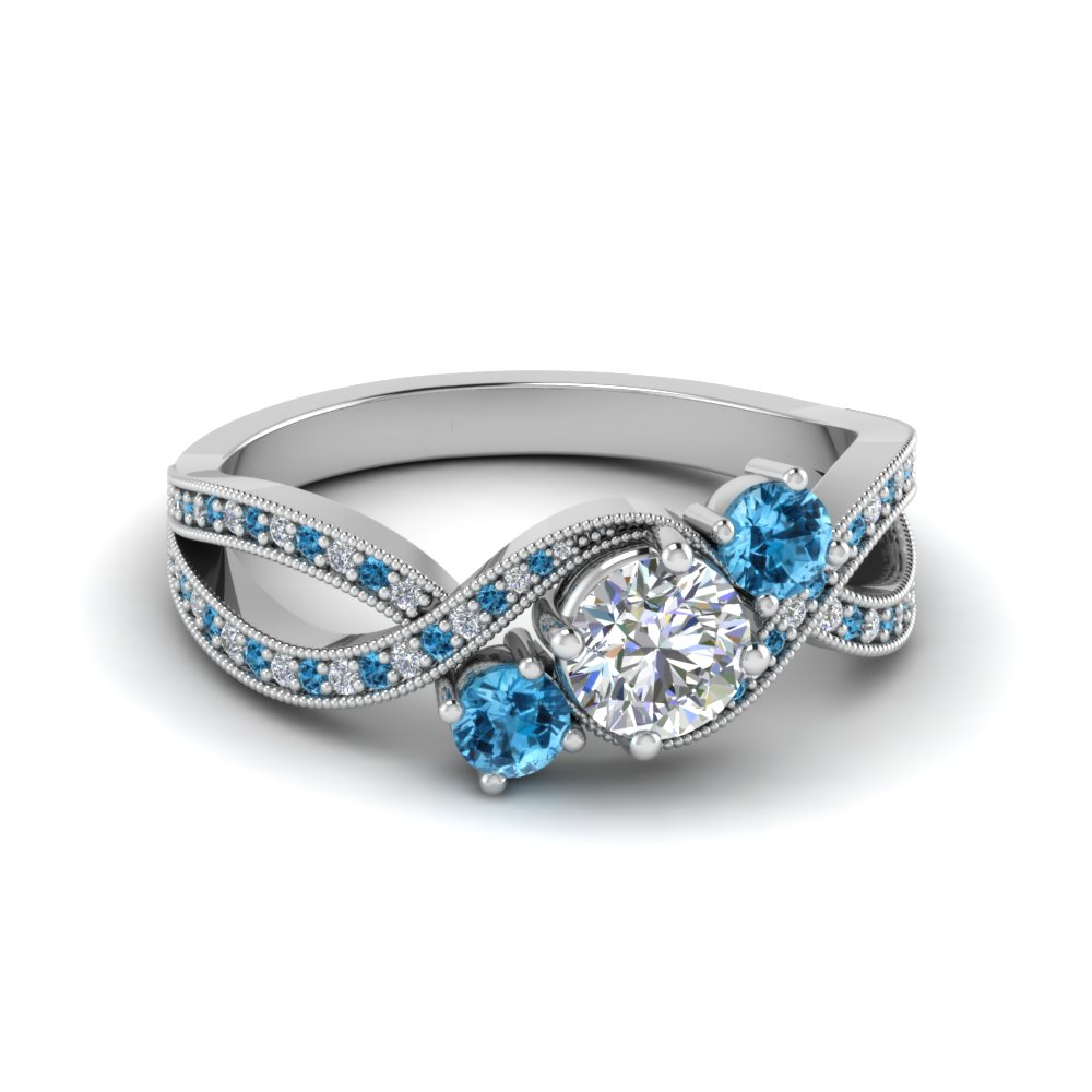 milgrain three stone pave lab diamond engagement ring with blue topaz in FD8101RORGICBLTO NL WG