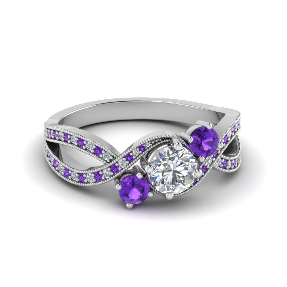 Purple 3 Stone Accents Diamond Swirl Pave Ring