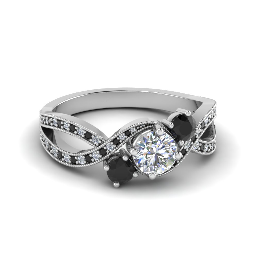 Black Round Diamond Ring