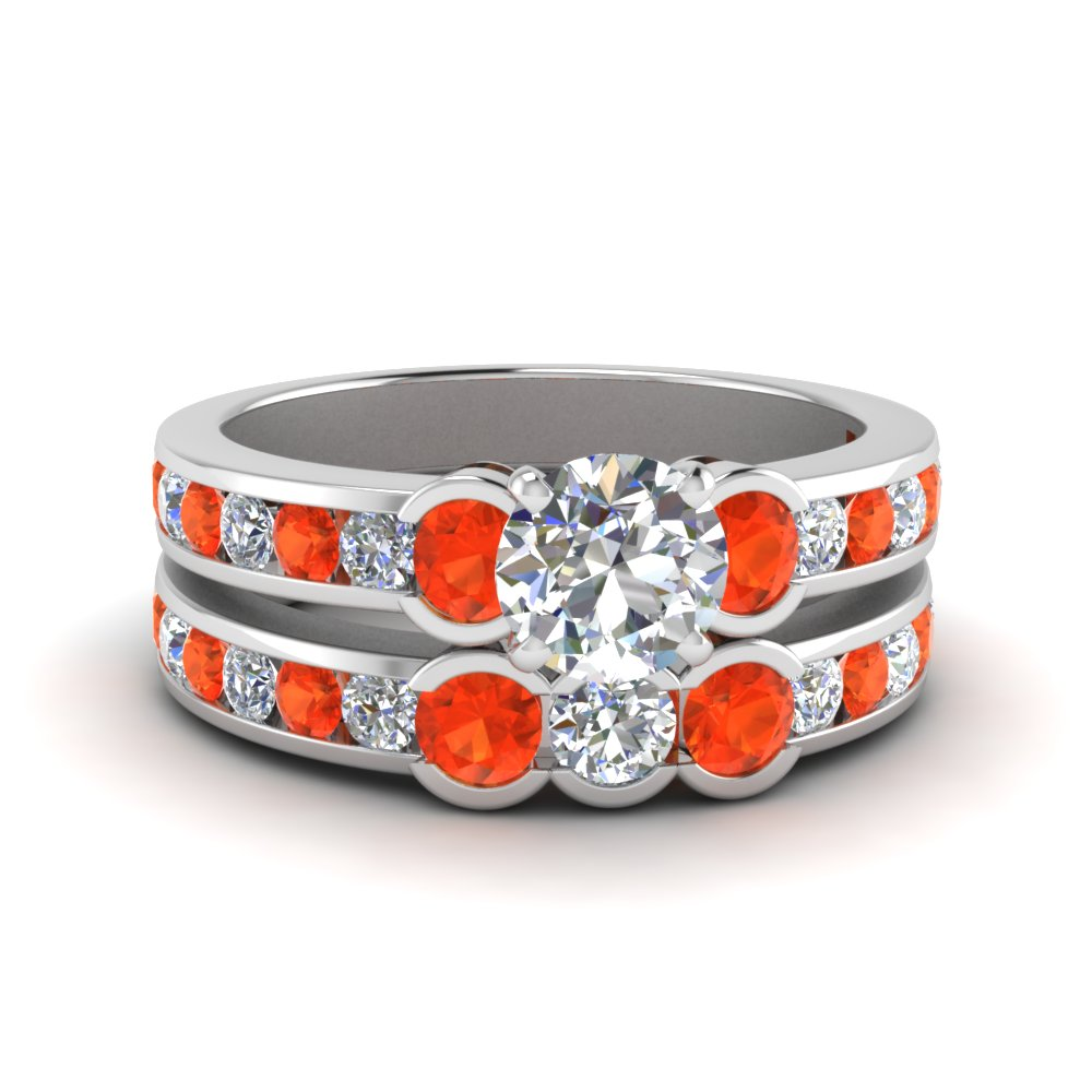 Platinum Orange Topaz Wedding Set