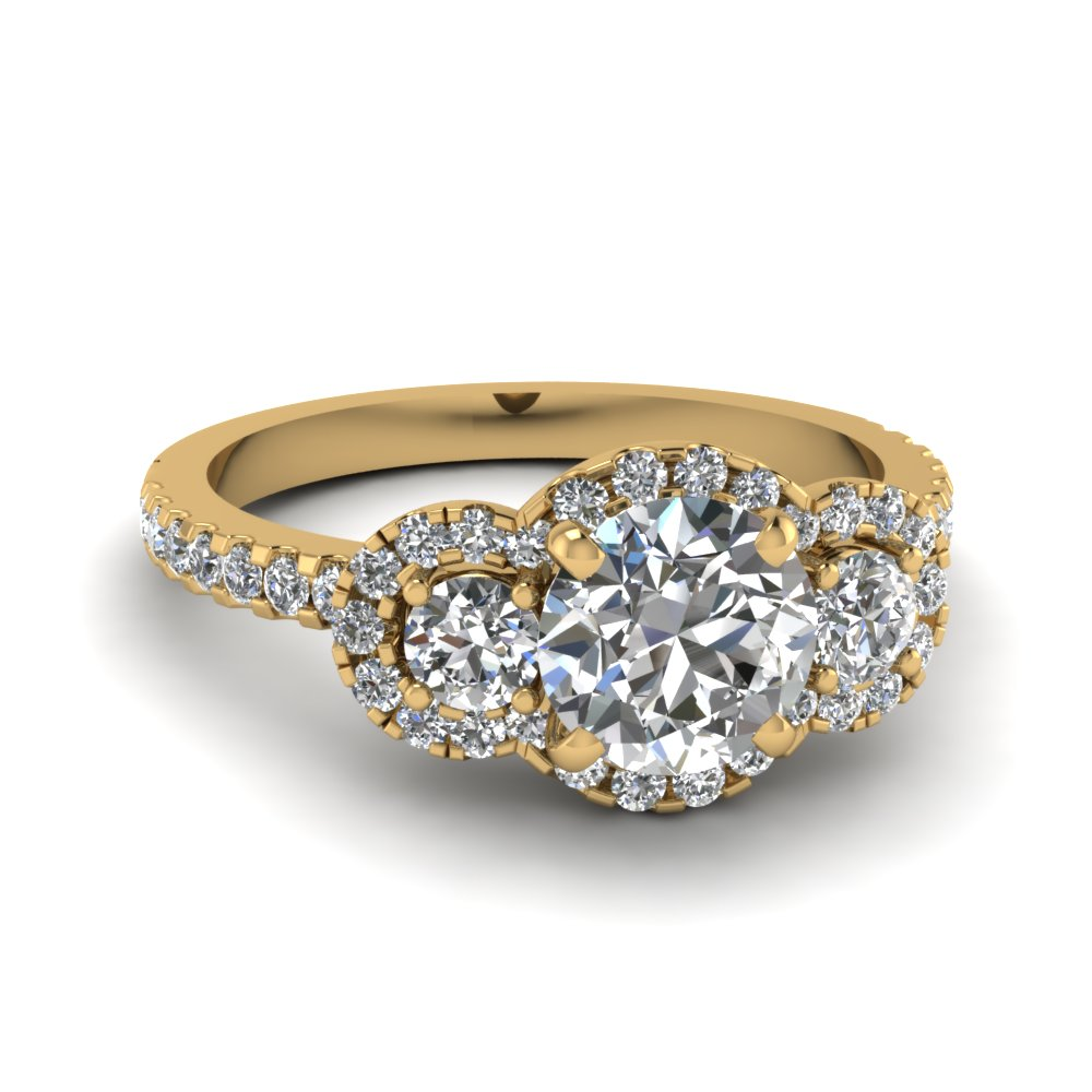 Round Cut Three Stone Halo Diamond Side Engagement Ring In 14k Yellow Gold Fdens3179ror Nl