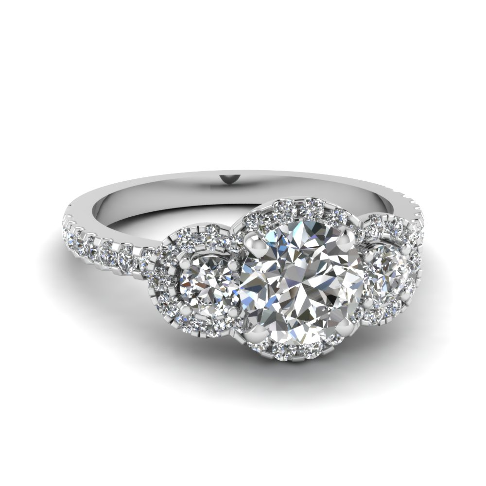 Round Cut Three Stone Halo Diamond Side Engagement Ring In 950 Platinum Fdens3179ror Nl Wg