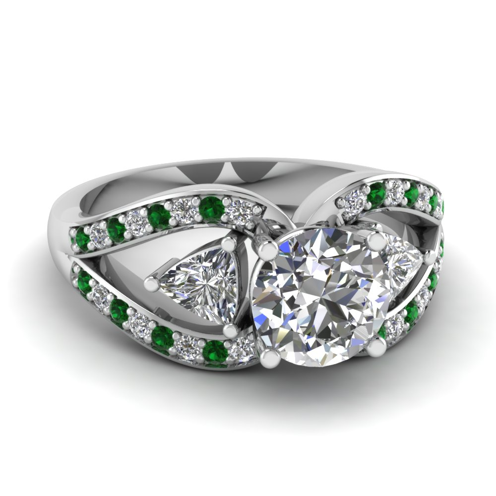 round cut trillion antique 3 stone engagement ring with emerald in FD71589RORGEMGR NL WG