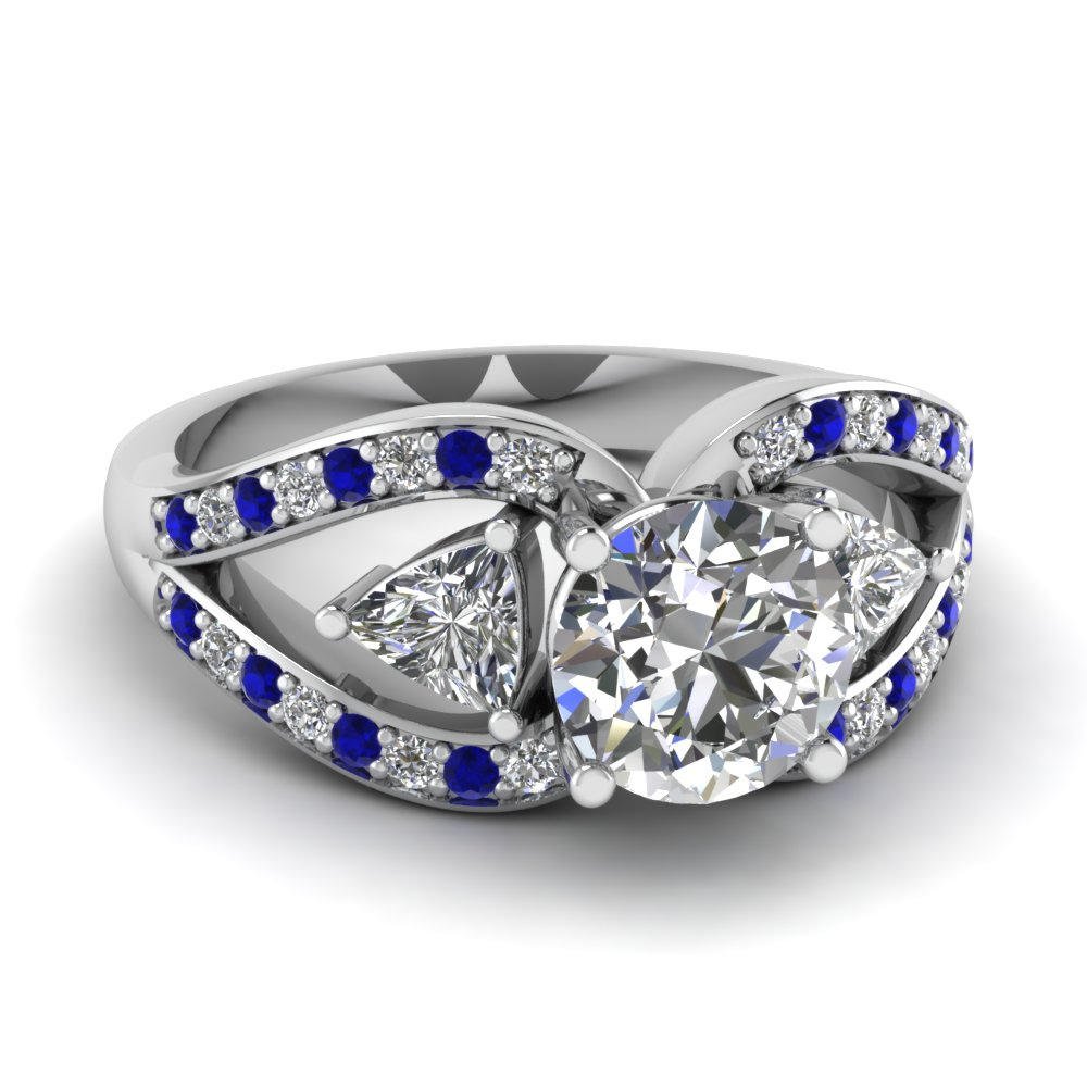 round cut trillion antique 3 stone engagement ring with sapphire in FD71589RORGSABL NL WG