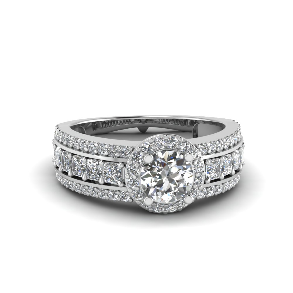 Triple Row Halo Engagement Ring
