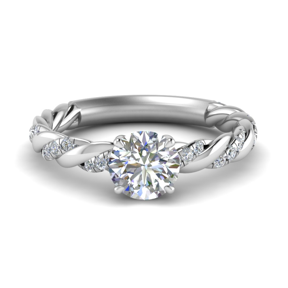 round cut twisted delicate moissanite engagement ring in FD9127ROR NL WG