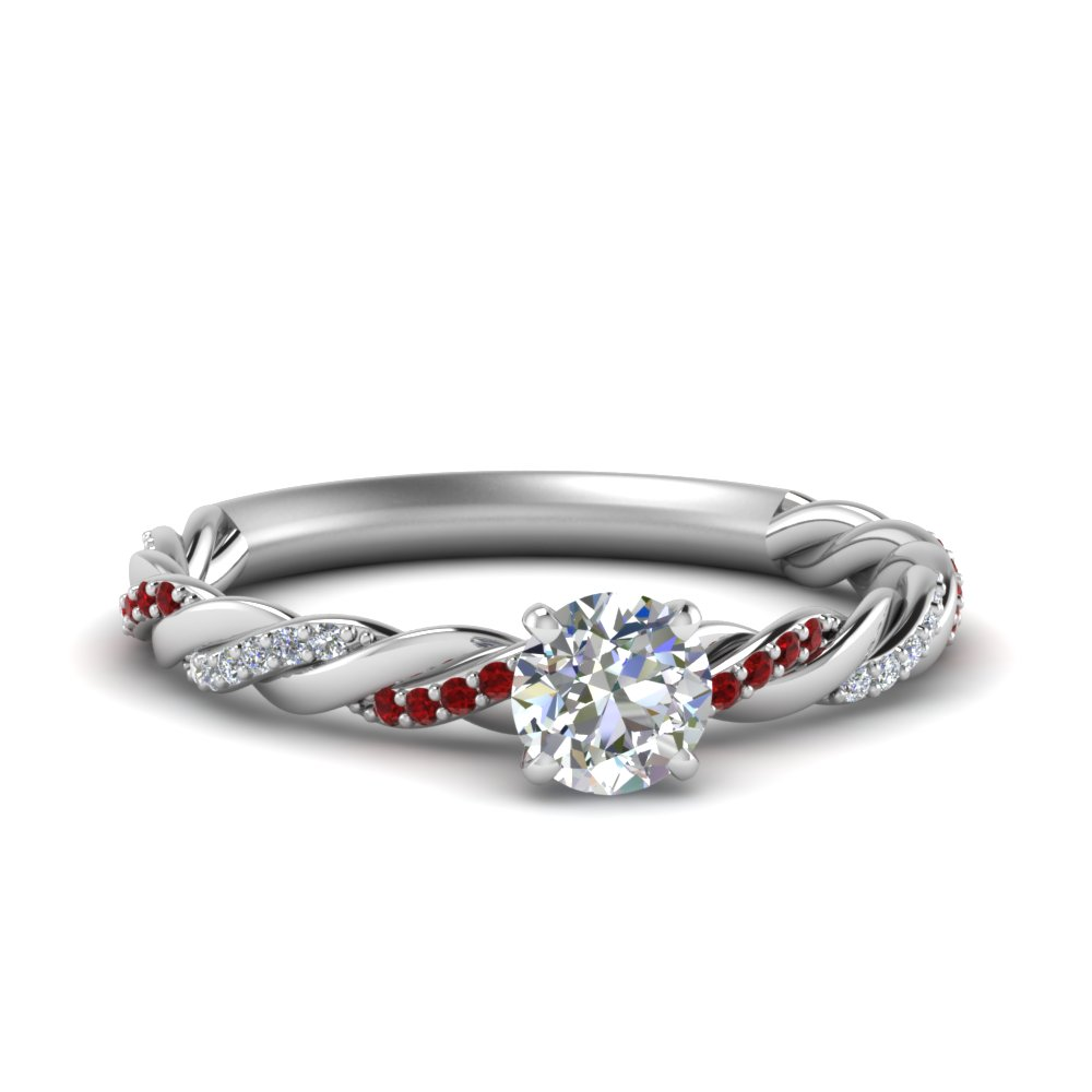 Twisted Delicate Round Diamond Ring