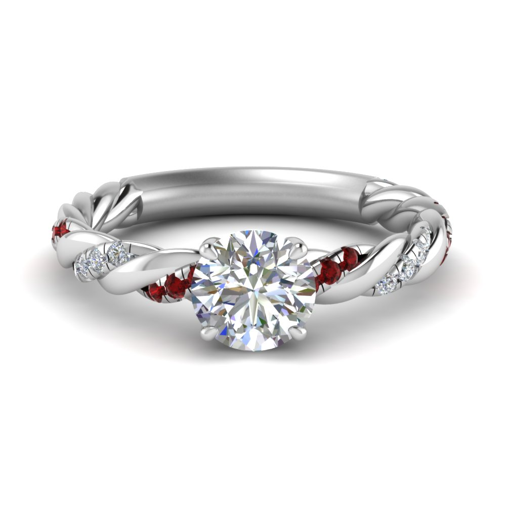 round cut twisted delicate diamond engagement ring with ruby in FD9127RORGRUDR NL WG