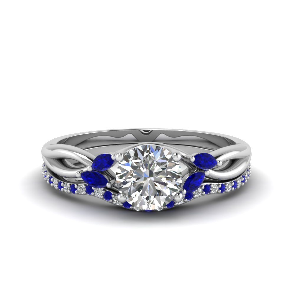 round cut twisted diamond bridal set with blue sapphire in 14K white gold FD8300ROGSABL NL WG