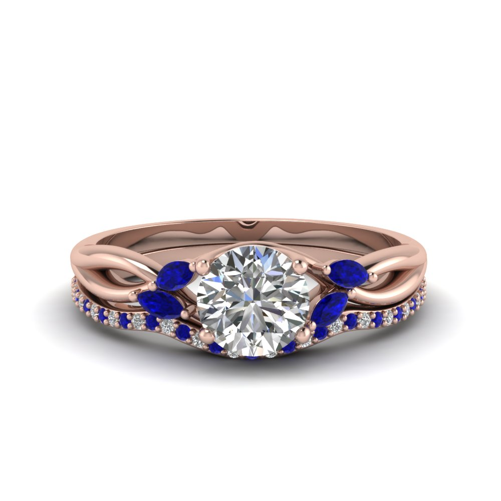 round cut twisted lab diamond bridal set with blue sapphire in 18K rose gold FD8300ROGSABL NL RG