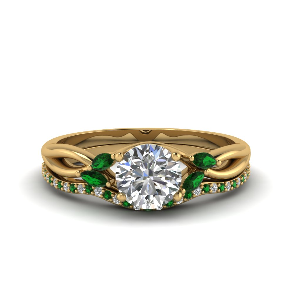 round cut twisted diamond bridal set with emerald in 14K yellow gold FD8300ROGEMGR NL YG