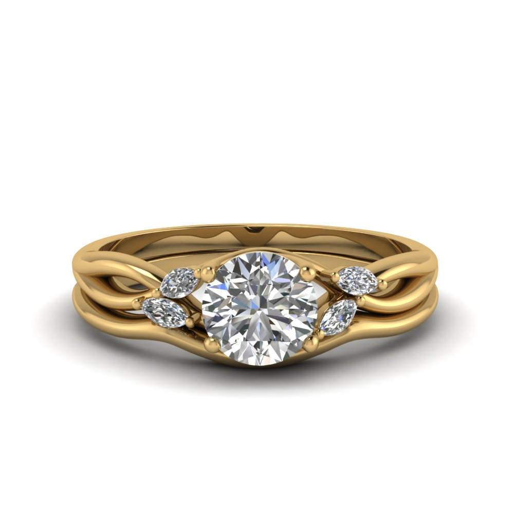 round cut twisted diamond engagement ring with matching curved band in FD8300RO NL YG