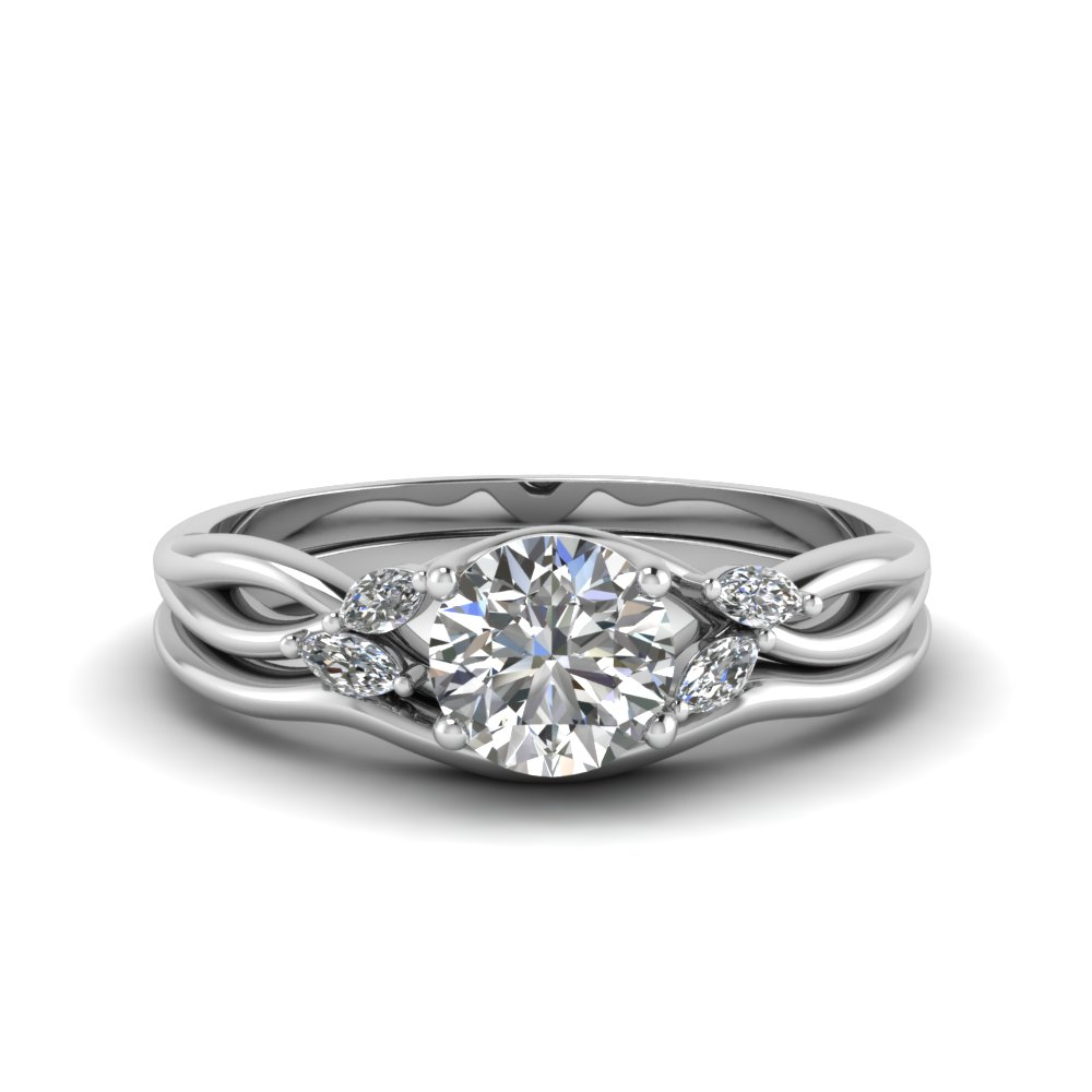 round cut twisted diamond engagement ring with matching curved band in FD8300RO NL WG