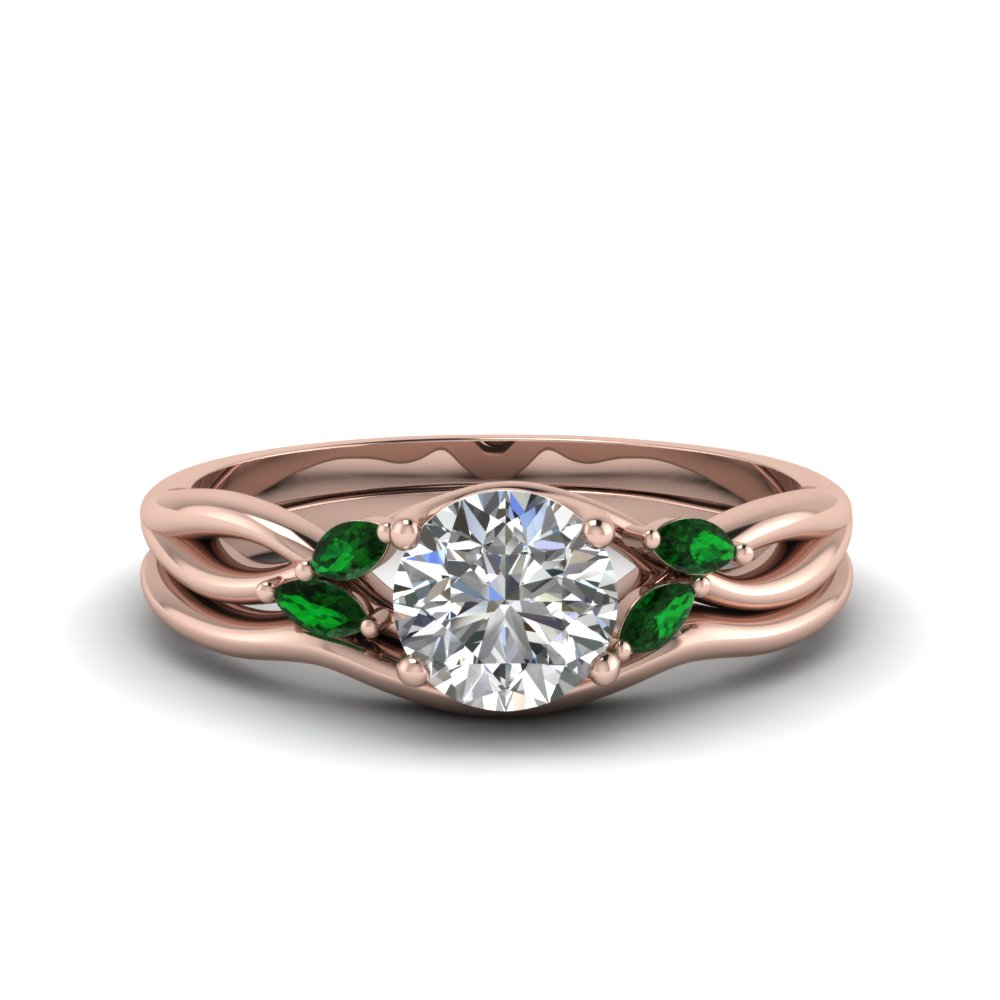 round cut twisted diamond and emerald engagement ring with matching curved band in FD8300ROGEMGR NL RG