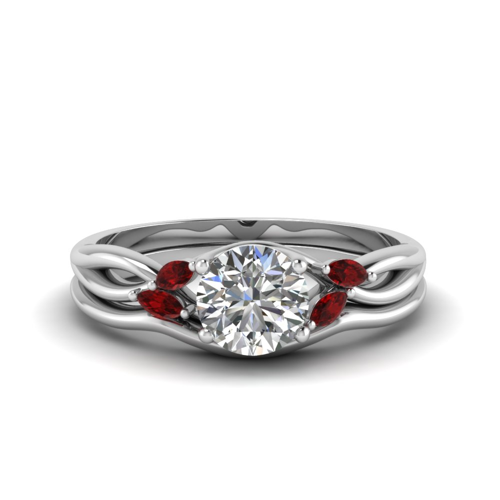 round cut twisted diamond and ruby engagement ring with matching curved band in FD8300ROGRUDR NL WG