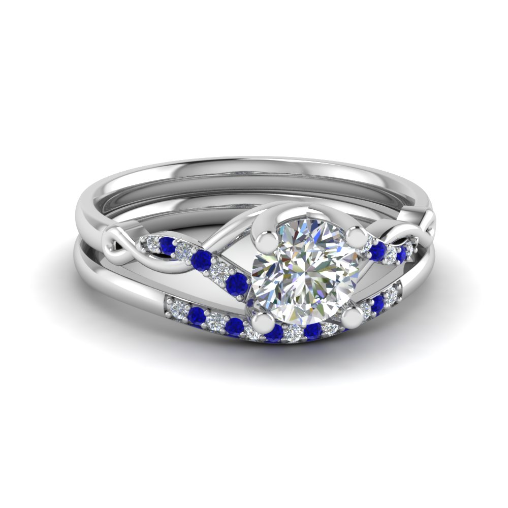 Sapphire Twisted Diamond Ring Set