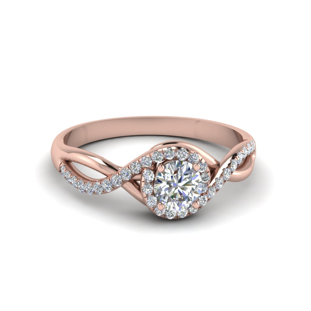 round cut twisted halo diamond engagement ring in 14K rose gold FD8268ROR NL RG