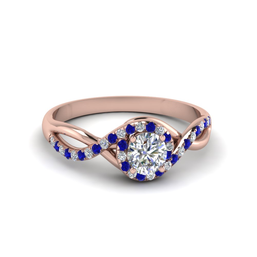 round cut twisted halo diamond engagement ring with sapphire in 14K rose gold FD8268RORGSABL NL RG