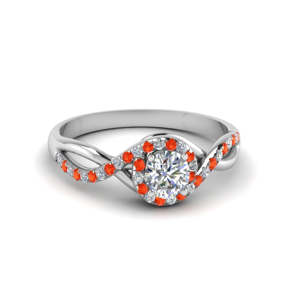 round cut twisted halo diamond engagement ring with orange topaz in 18K white gold FD8268RORGPOTO NL WG