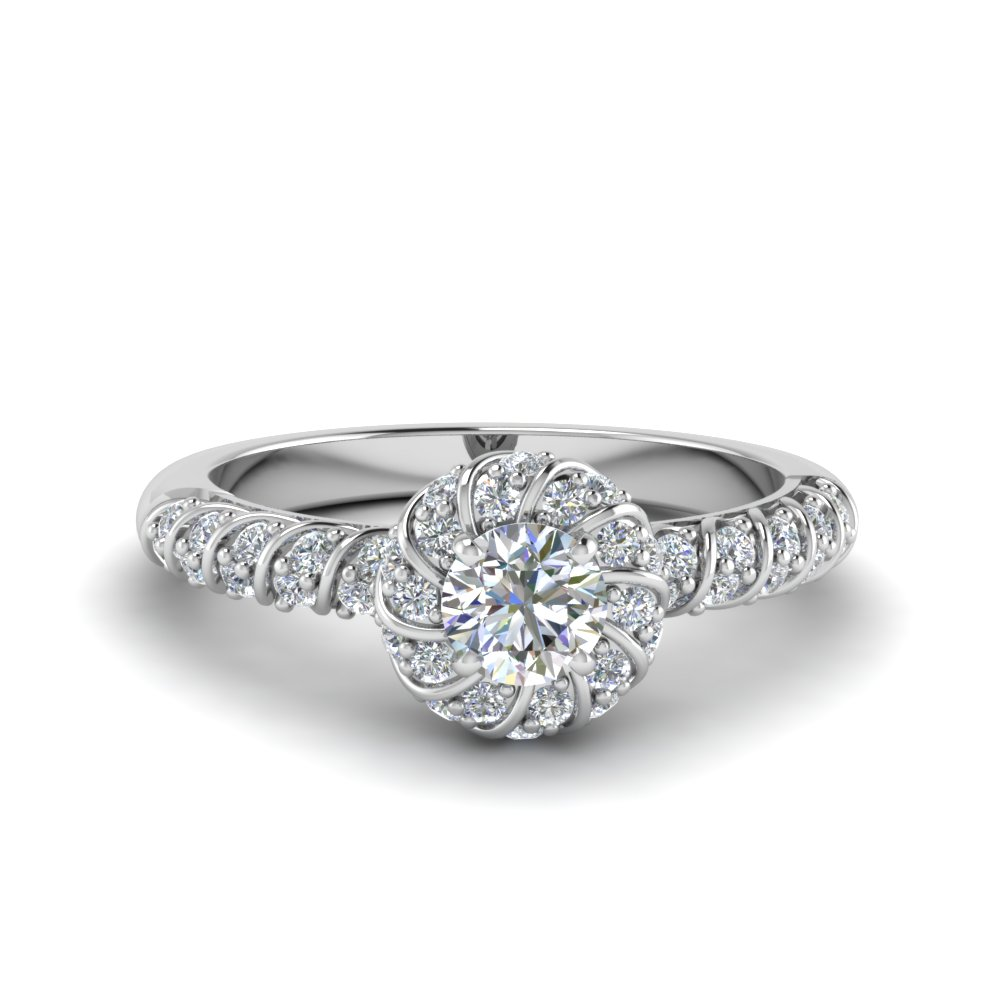 round cut twisted halo diamond vintage engagement ring in 14K white gold FDENS3185ROR NL WG