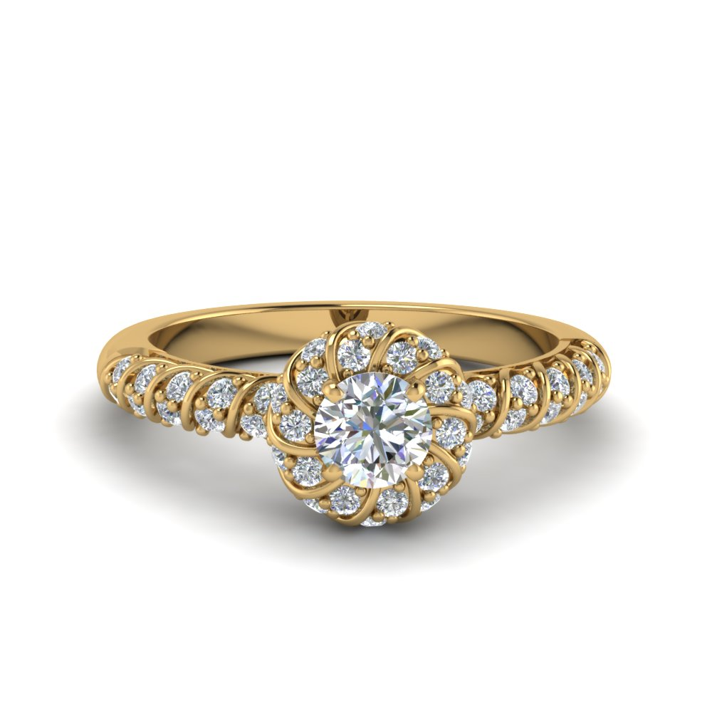 twisted halo diamond vintage engagement ring in FDENS3185ROR NL YG