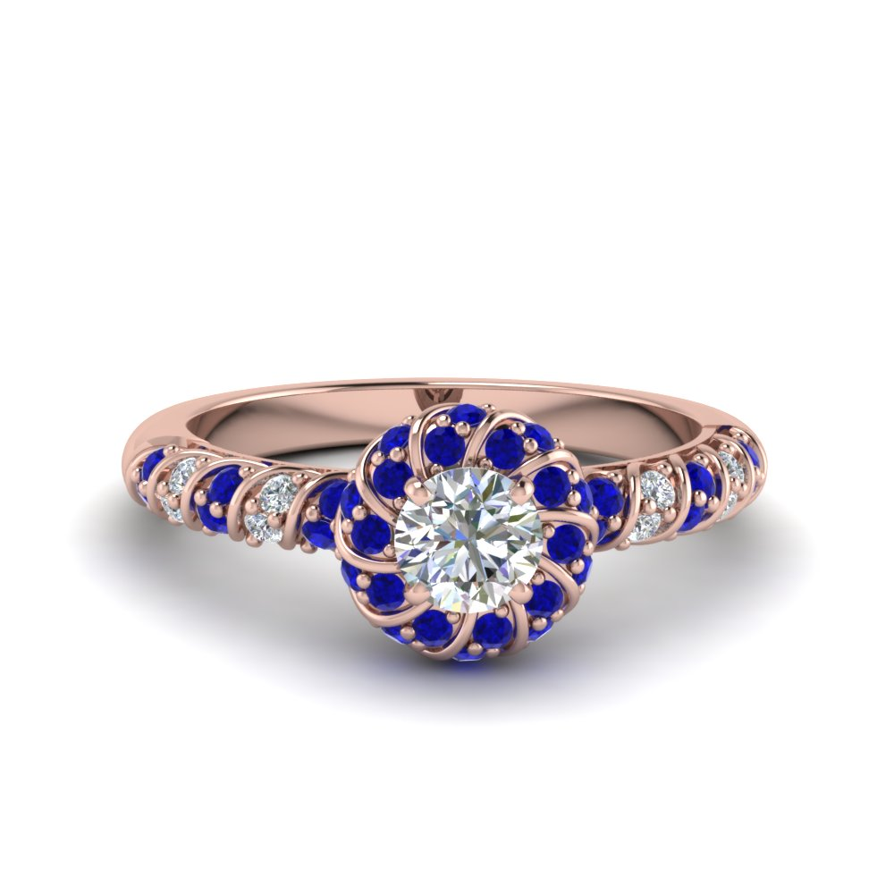 twisted halo diamond vintage engagement ring with sapphire in FDENS3185RORGSABL NL RG