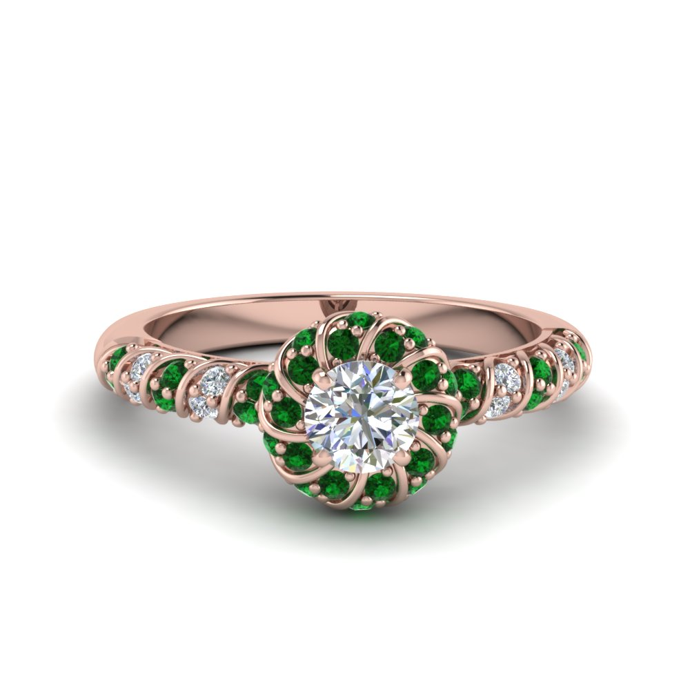 Flower Halo Emerald Ring