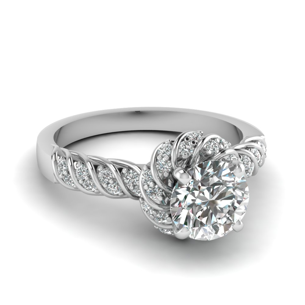 Twisted Round Cut Antique Engagement Ring