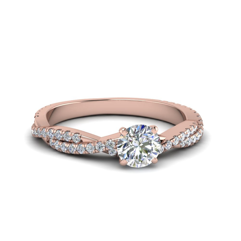 round cut twisted vine diamond engagement ring for women in 14K rose gold FD8233ROR NL RG