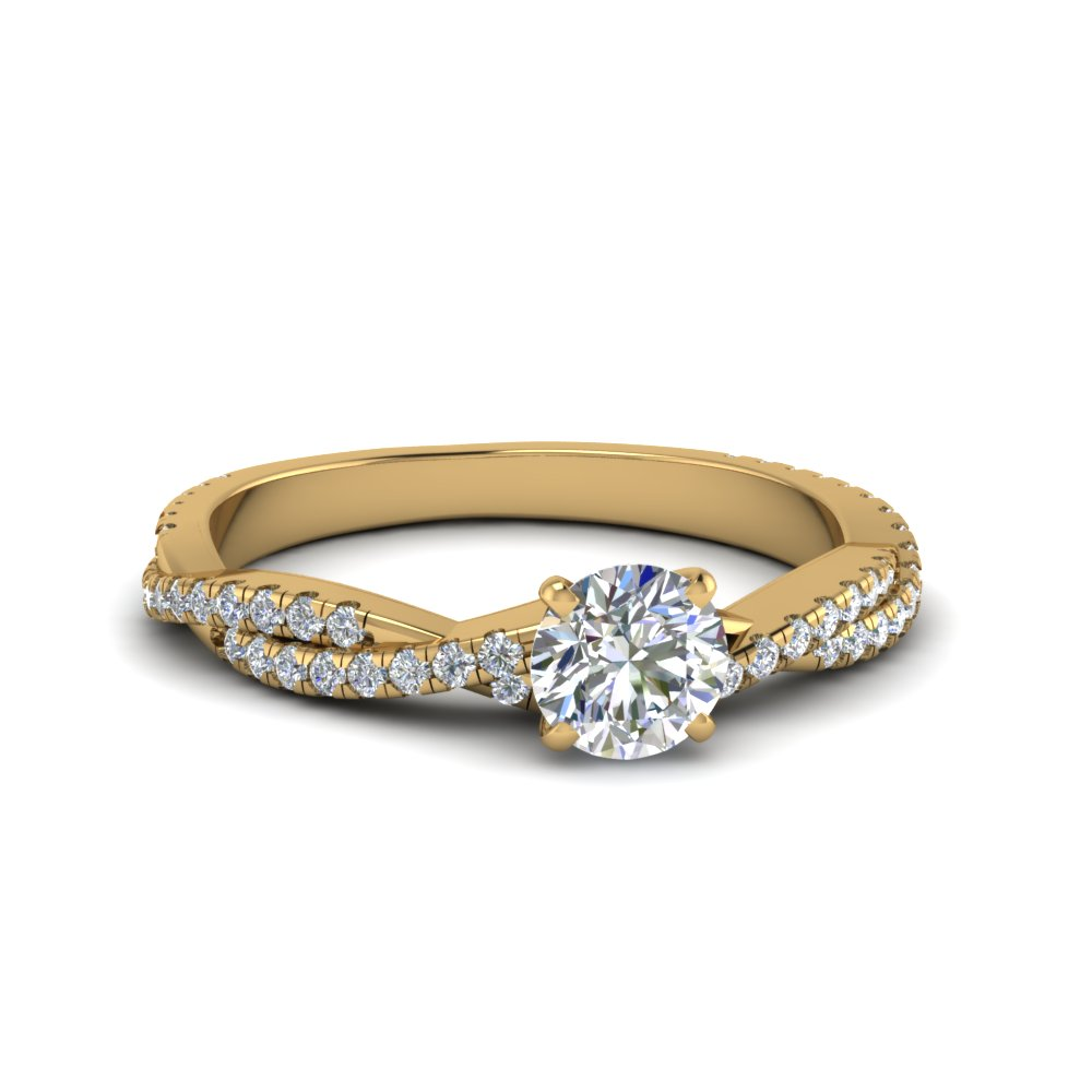 round cut twisted vine diamond engagement ring for women in 14K yellow gold FD8233ROR NL YG
