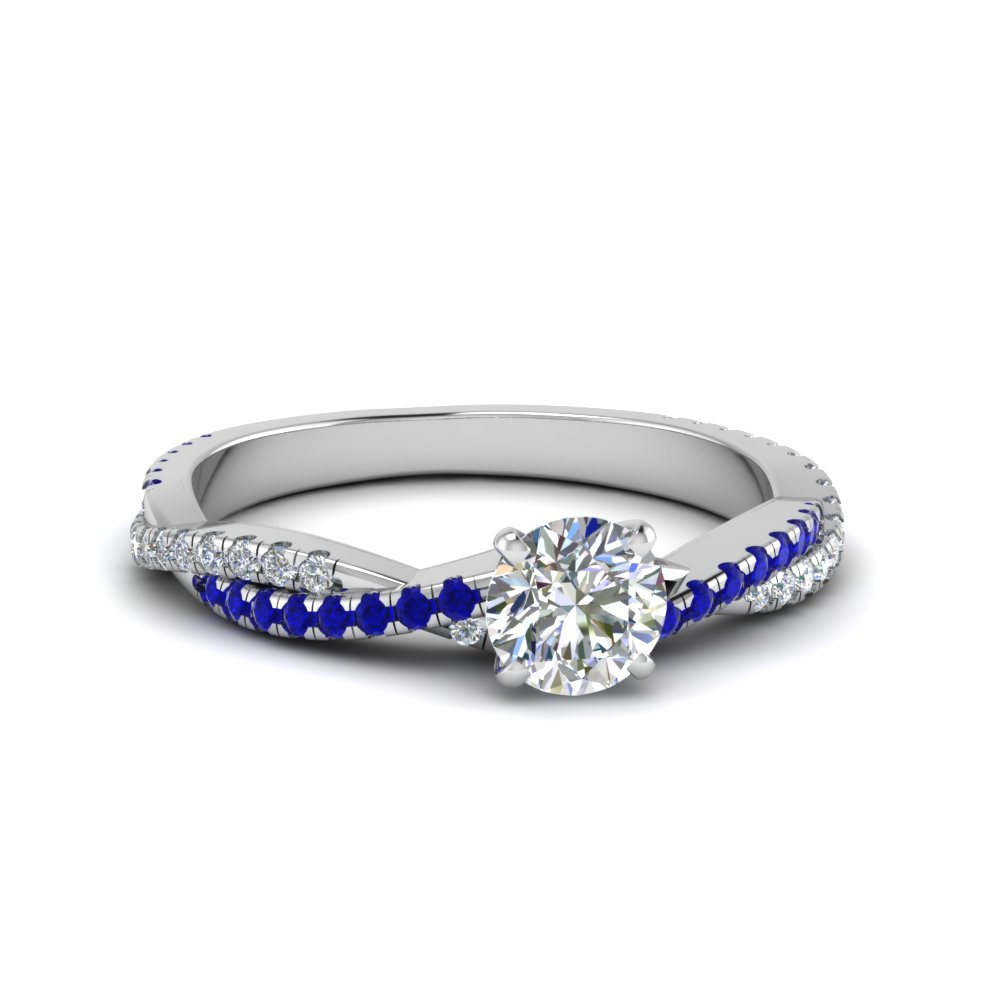 round cut twisted vine diamond engagement ring for women with blue sapphire in 14K white gold FD8233RORGSABL NL WG