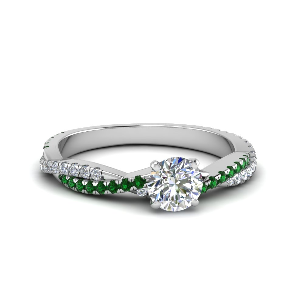 round cut twisted vine diamond engagement ring for women with emerald in 14K white gold FD8233RORGEMGR NL WG