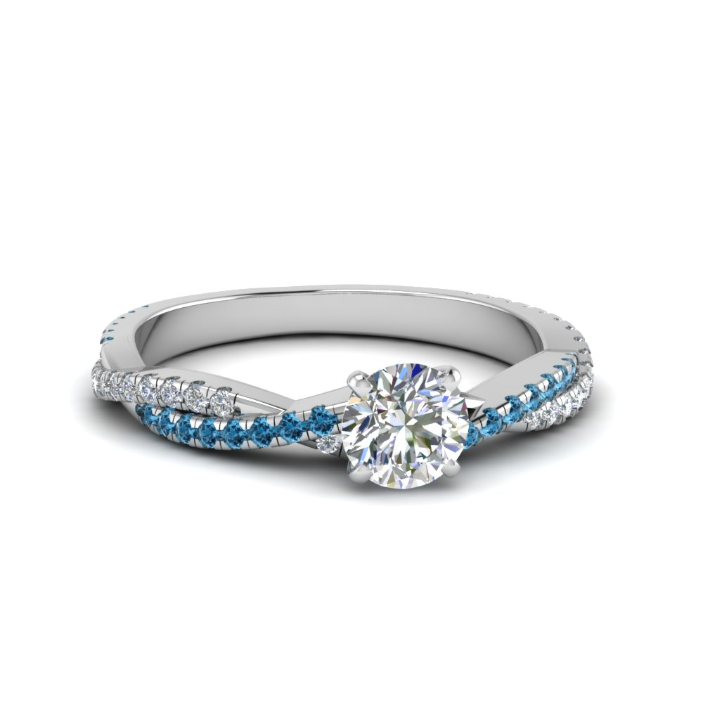 round cut twisted vine diamond engagement ring for women with ice blue topaz in 14K white gold FD8233RORGICBLTO NL WG