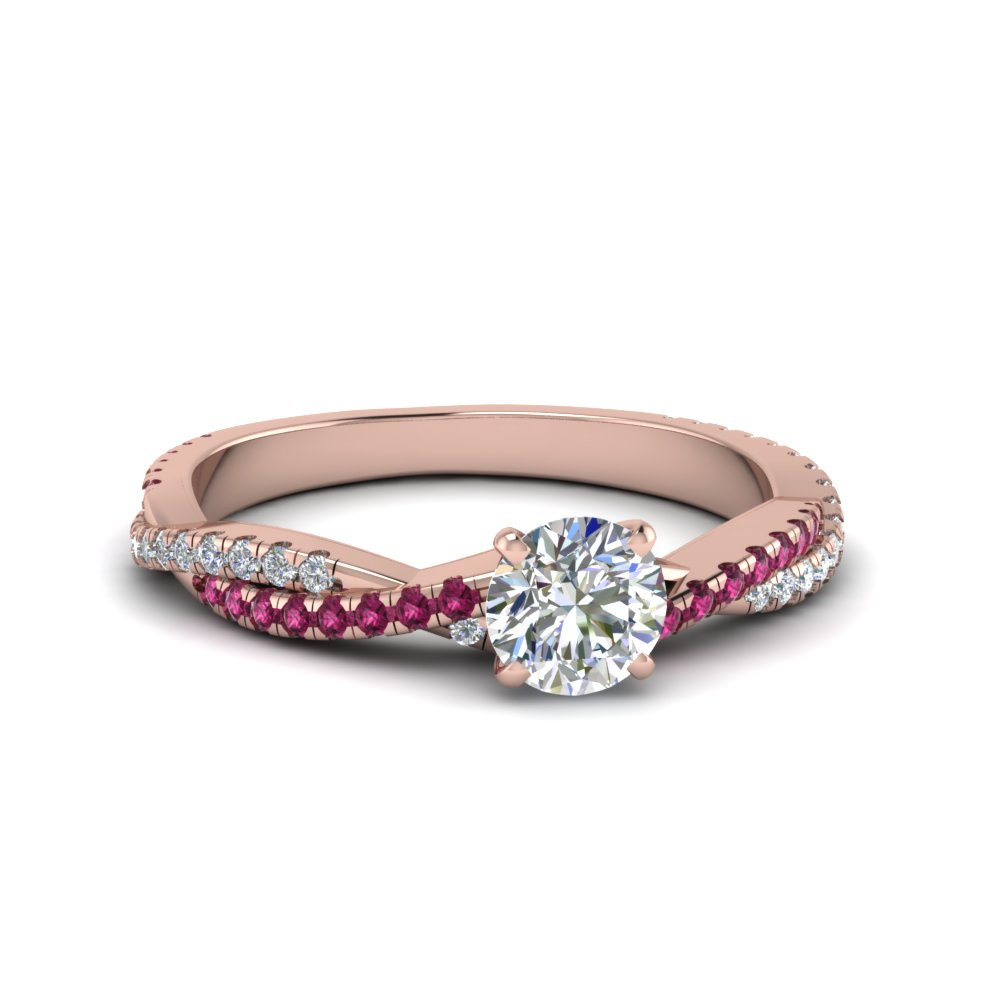 round cut twisted vine diamond engagement ring for women with pink sapphire in 14K rose gold FD8233RORGSADRPI NL RG