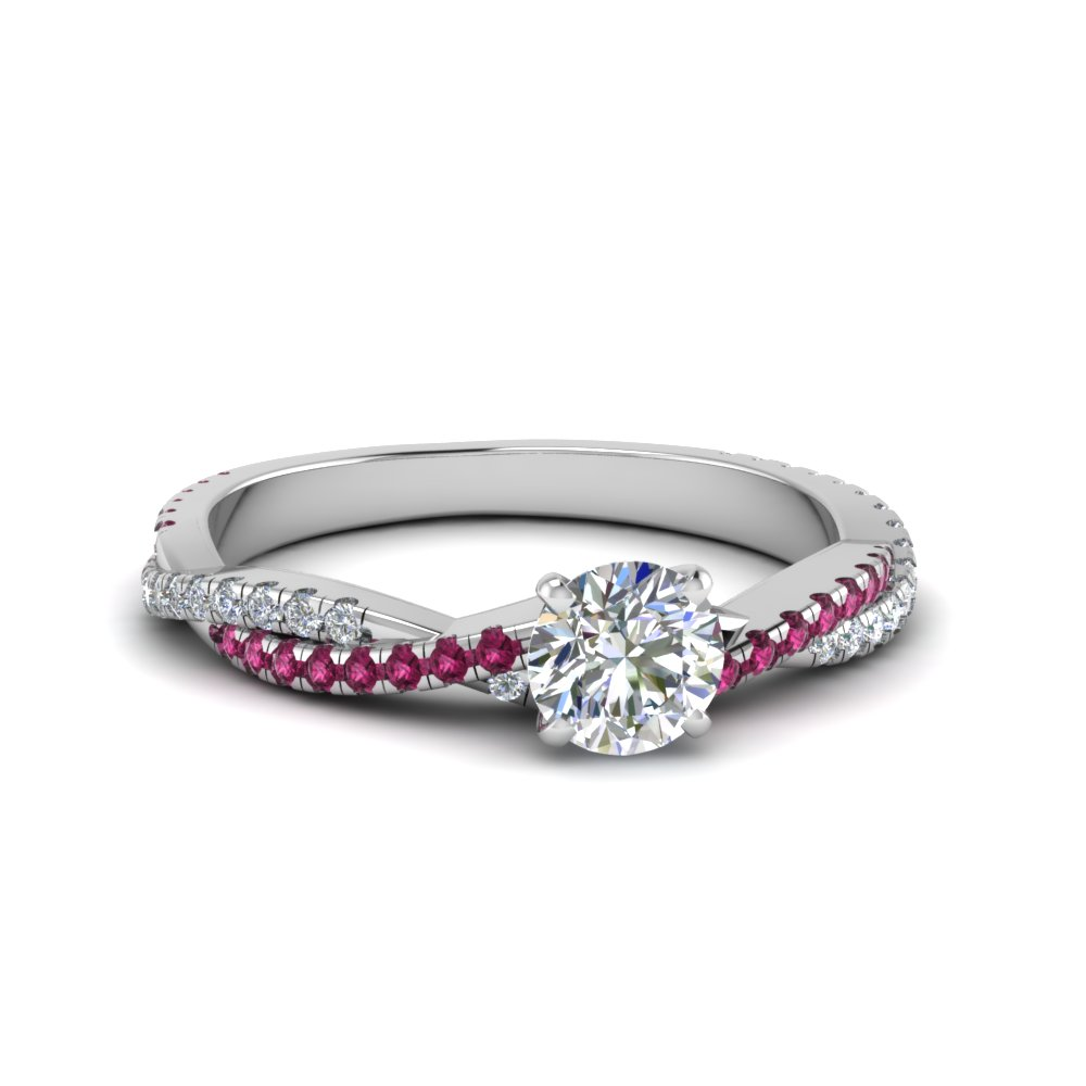 Round Cut Twisted Vine Diamond Engagement Ring For Women With Pink Shire In 14k White Gold