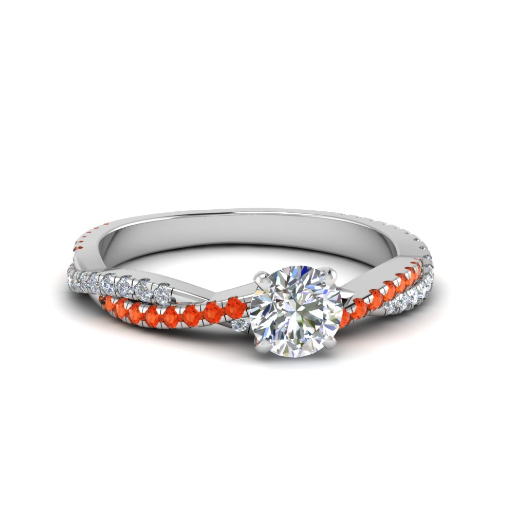 round cut twisted vine diamond engagement ring for women with poppy topaz in 14K white gold FD8233RORGPOTO NL WG