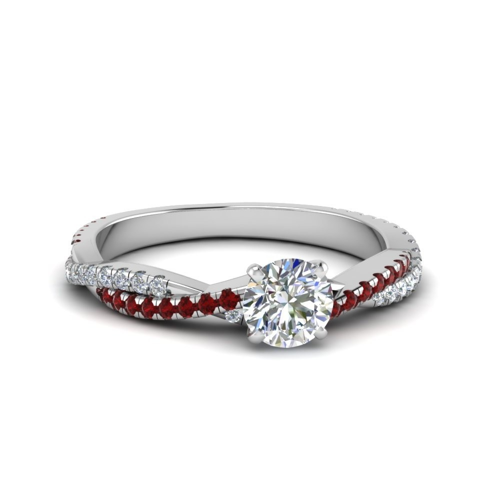 Twisted Vine Ruby With Diamond Ring
