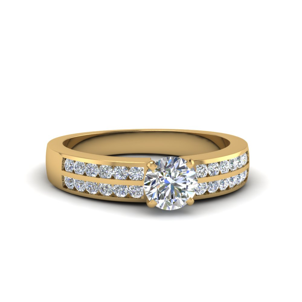 Gold Engagement Ring With Round Accents