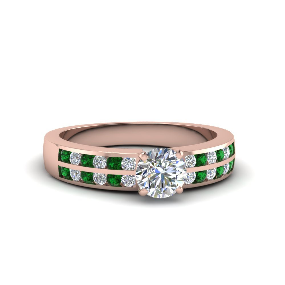 round cut two row channel diamond ring with emerald in 14K rose gold FDENS3119RORGEMGR NL RG