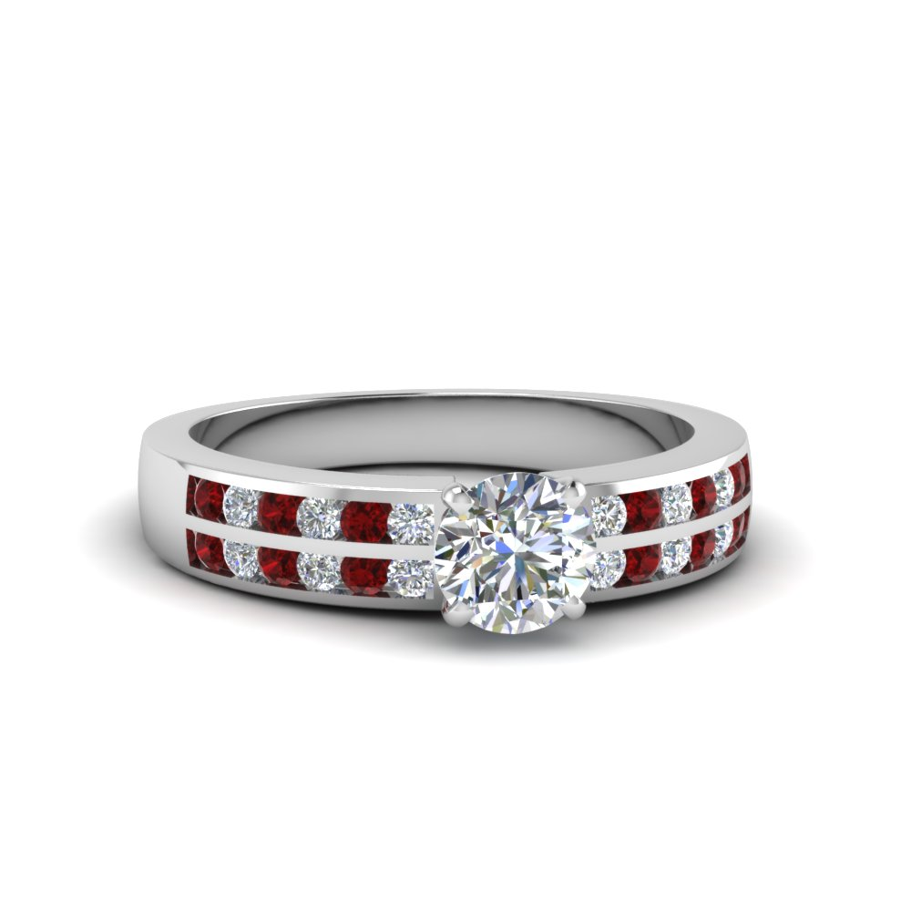 two row channel diamond round cut engagement ring with ruby in FDENS3119RORGRUDR NL WG