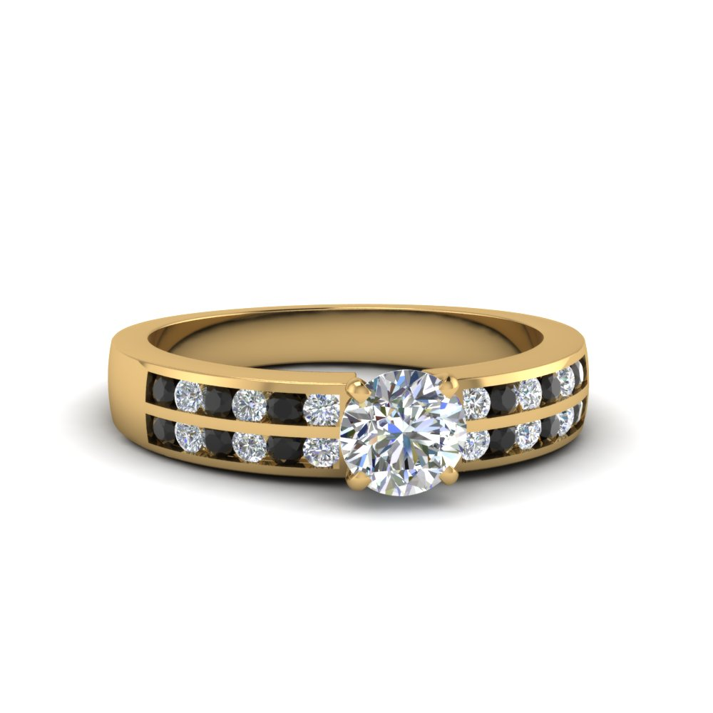 Twin Row Black Diamond Engagement Ring Gold