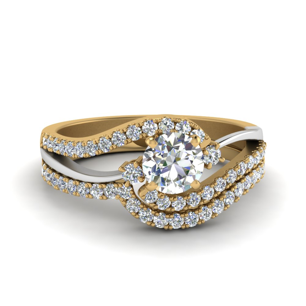 2 Tone 3 Stone Bridal Ring Set