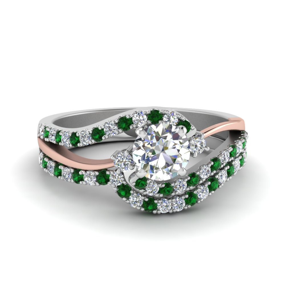 3 Stone Swirl Emerald Bridal Set