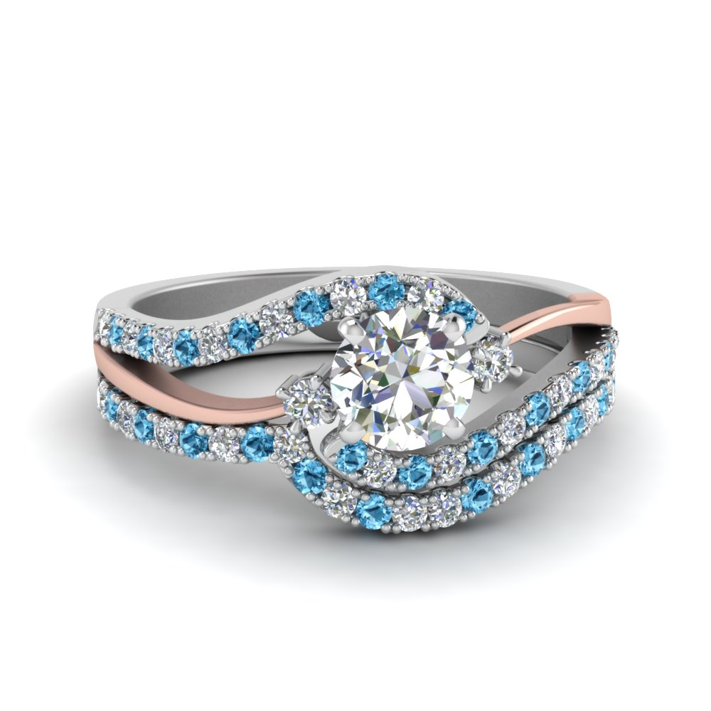 Blue Topaz Round Cut Wedding Set
