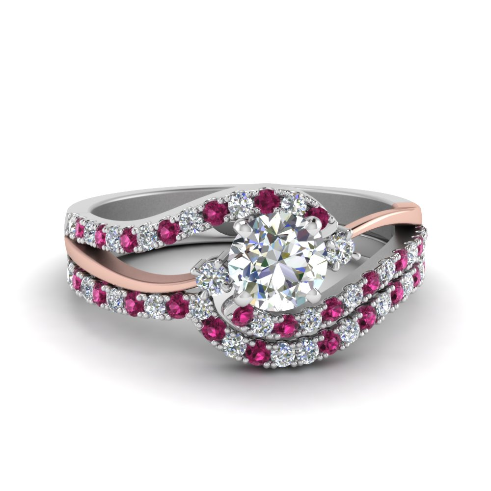 Wedding Set With Pink Sapphire