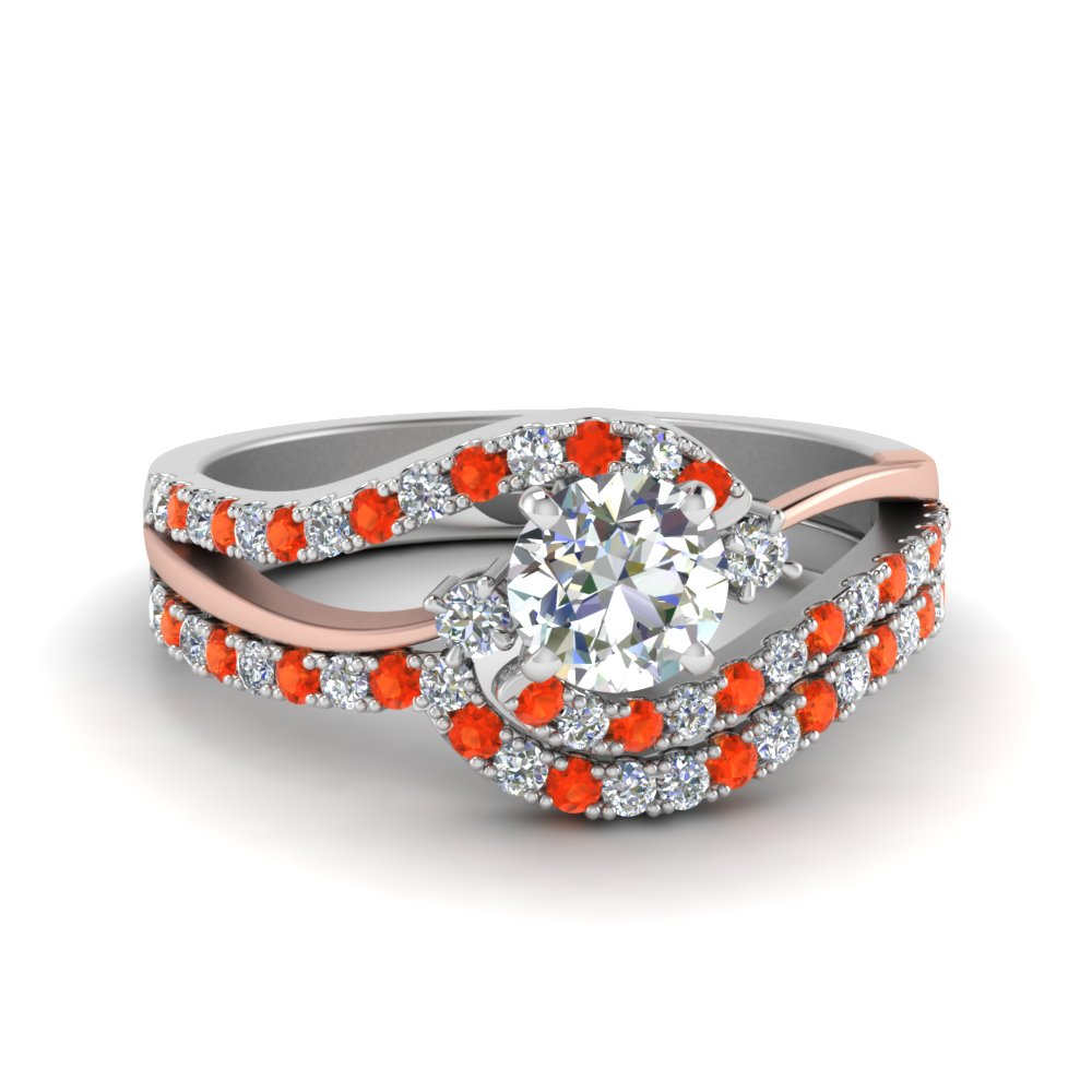 Swirl Orange Topaz Wedding Set