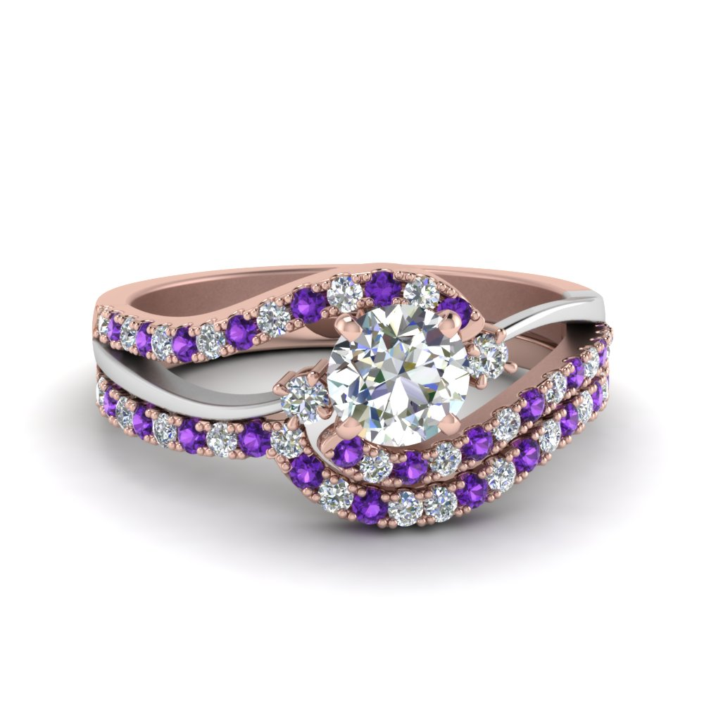 Two Tone 3 Stone Purple Topaz Ring Set